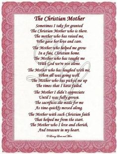 Christian Mothers Day Poems   Christian Mother poem is for the sweet Christian mother. Poem may be ...: