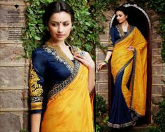 Look Beautiful on any Occasion in Yellow and Royal Blue Georgette Saree with Heavy Silk Blouse and Santoon Inner. Thread, Jari & Stone Work With Heavy Lace On Border.