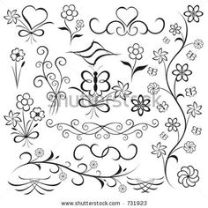 Elements For Design (flower, Butterfly, Heart), Vector Stock Vector - Illustration of element, spiral: 345385