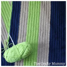 """A super simple crochet blanket in """"boy"""" colours for my son based on my Rainbow Crochet Blanket Tutorial - great for a beginner or a quick gift! Crochet For Boys, Love Crochet, Learn To Crochet, Beautiful Crochet, Easy Crochet, Crochet Baby, Knit Crochet, Single Crochet, Crochet Blanket Tutorial"""