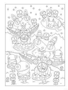 Creative Coloring Books Inspirational Sample Page From Dover Publications Creative Haven Curious Creatures Coloring Book Colouring Pics, Doodle Coloring, Coloring Book Pages, Printable Coloring Pages, Coloring Pages For Kids, Coloring Sheets, Art Doodle, Creative Haven Coloring Books, Curious Creatures