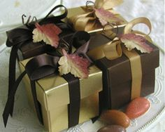 Autumn leaves favor box in gold and brown. Maybe a piece of lavendar instead of leaf? and more fitting colors!