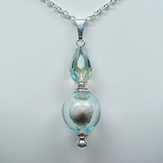 "Clearly Loved Cremation Urn Necklace - ""Clearly Beloved"" - Light Aqua Blue/or Gray Transparent Teardrop"