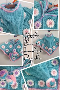 Flower Granny Square Poncho and Hood