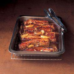 Pork belly pork strips in barbecue sauce