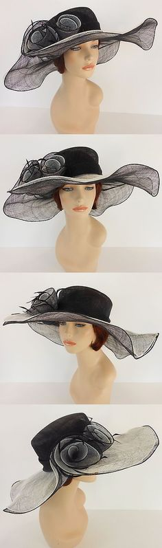 Women Formal Hats: New Church Derby Wedding Sinamay 2 Layers Dress Hat 1765 Black And Off White -> BUY IT NOW ONLY: $49.99 on eBay!