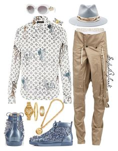 """StyledByLeek"" by stylebywho on Polyvore featuring Versace, Balmain, Christian Louboutin, Bling Jewelry, Gucci, Nick Fouquet, men's fashion and menswear"
