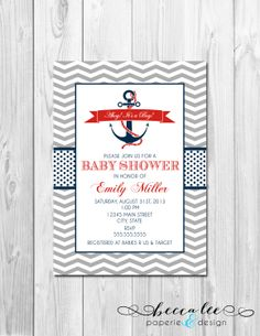 Nautical Baby Shower Invitation  Ahoy Its A Boy by BeccaLeePaperie, $13.00