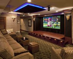 Awesome home theater with performance stage | custom design and decor | entertainment | media center | decorating ideas