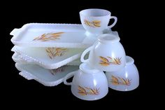 Anchor Hocking Snack Set Wheat Pattern Set of 4 Cups and
