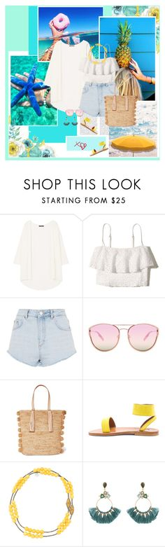 """Sin título #2653"" by liliblue ❤ liked on Polyvore featuring Poesia, MANGO, Hollister Co., Topshop, Quay, Loeffler Randall, K. Jacques, Myrna Halpern and Atelier Mon"