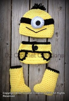 3-6 and 6-12 month set now available!  Crochet Minion Photo Prop  312 months by HandMadeByDz on Etsy, $25.00.