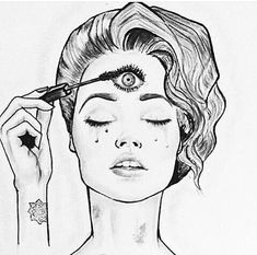 Even your third eye needs mascara Day Of The Dead Drawing, Art Sketches, Art Drawings, Voodoo Tattoo, Tarot, New People, Mandala, Reality Shows, The Mind's Eye