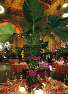 Tall Centerpiece for Tropical Paradise Reception - tall centerpiece, tropical paradise, preston bailey event ideas. Tropical Centerpieces, Table Centerpieces, Wedding Centerpieces, Wedding Table, Wedding Decorations, Table Decorations, Centerpiece Ideas, Tree Wedding, Wedding Ideas