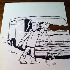 TræsnitWoodcut - Creative comical paper drawings