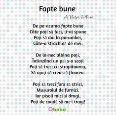 Fapte bune Kids Poems, Kids Education, Nursery Rhymes, Montessori, Art For Kids, Activities For Kids, Kindergarten, Language, Parenting