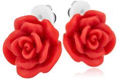 Boucles d'oreilles clips fleur Eros en résine, rouges, taille S Rose Haylland