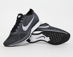 #Nike #Flyknit Racer Grey Black #Running #Sneakers
