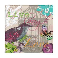 Live Laugh Love Quote Vintage Bird Collage - coaster, live laugh love, vintage, gift idea, gift ideas