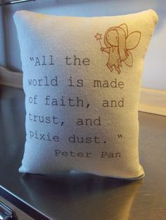 Peter Pan pillow Tinkerbell nursery throw by SweetMeadowDesigns