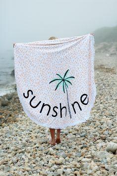 Lolli Swim Round Beach Towel, Sunshine Palm Tree Towel