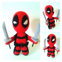Needle felted mini Deadpool figure