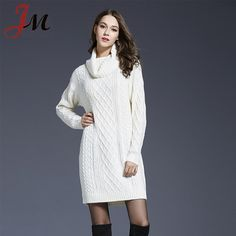 beda5a3e0ce Plus size lady turtleneck cable knitting pullover over knee dress Winter Sweater  Dresses