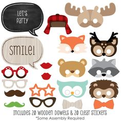 Woodland Creatures - 20 Piece Photo Booth Prop Kit