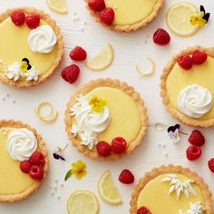 folks what do you think of these lemon raspberry tarts don't they look ? Repost from - Celebrate the delicious flavors of summertime with these Lemon Raspberry Tarts 🍋💕✨. Top your tartlets with whipped cream a Easy Tart Recipes, Lemon Dessert Recipes, Sweet Recipes, Baking Recipes, Delicious Desserts, Lemon Fruit Tart Recipe, Mini Lemon Tarts, Raspberry Tarts, Mini Fruit Tarts