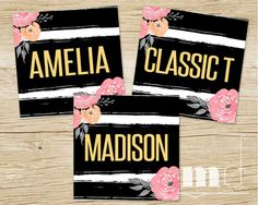 Lularoe Clothing Style Name Cards, LuLaRoe Facebook Album Cover Card 5x5, Lula Roe Consultant Online Signs, Lularoe Marketing kit best black and white gold floral stripe design by MulliganDesign on Etsy