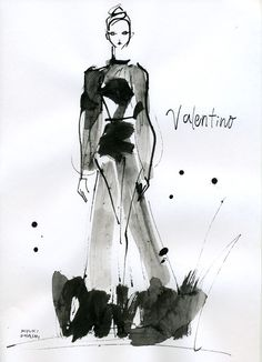 Fashion illustration - Valentino haute couture dress drawing; fashion sketch // Miyuki Ohashi