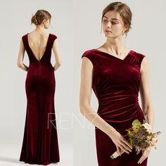 Burgundy Bridesmaid Dress Velvet Party Dress Cap Sleeves Sheath Prom Dress Asymmetrical Neckline Open Back Mermaid Formal Dress (HV955) Tulle Bridesmaid Dress, Burgundy Bridesmaid Dresses, Prom Dresses, Formal Dresses, Wine Dress, Cap Dress, Renz, Illusion Dress, Boho Wedding Dress