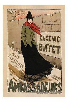 Nightly Ambassadeurs Eugénie Buffet VINTAGE POSTER Métivet FRANCE 1896 24X36