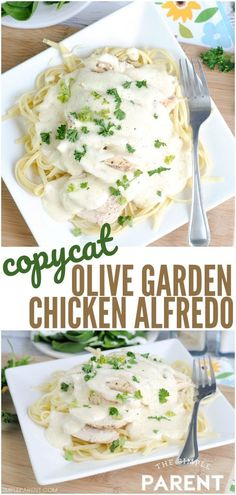 restaurant dinner Olive Garden Chicken Alfredo Recipe - Copycat recipes are a great way to enjoy your favorite meals without going out to eat at a restaurant! Enjoy this pasta recipe with your own salad and breadsticks for a great dinner at home! Salsa Alfredo Receta, Restaurant Recipes, Dinner Recipes, Pollo Alfredo, Olive Garden Recipes, Olive Garden Fettuccine Alfredo Recipe Copycat, Shrimp Alfredo Olive Garden, Olive Garden Pasta, Pasta Dishes