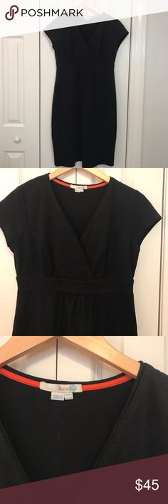 Boden Casual Jersey Dress This black Boden dress is still on the website!  Note, the cover shot is navy, but the dress I'm selling is black!  It's perfect for work or play and it's in excellent used condition.  This dress is a Boden bestseller!  There is a wrapped detail on the bust, has a cinched-in waist, and has a soft A-line shape.  Bust 18, length 39.  98 cotton, 4 elastane.  US size 8R.  From a smoke free, pet friendly home. Boden Dresses Midi