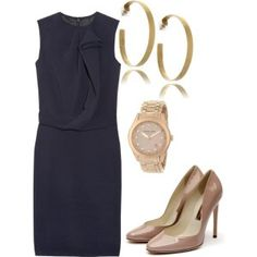 I love the navy with the nude colored accessories. This is sharp yet elegant.