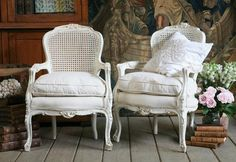 Pair of Vintage Creamy Cane Back Chairs