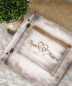 Items similar to Shabby Chic Rustic Wedding Album or Guest Book with Personalized burned engraving on Etsy Shabby Chic Porch, Shabby Chic Vanity, Shabby Chic Garden, Shabby Chic Wall Decor, Shabby Chic Pillows, Shabby Chic Curtains, Shabby Chic Baby Shower, Shabby Chic Living Room, Shabby Chic Interiors