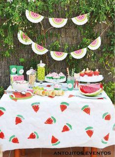 Antojitos Eventos's Summer / Watermelon - Photo Gallery at Catch My Party Watermelon Birthday Parties, Fruit Party, Summer Birthday, First Birthday Parties, Birthday Party Themes, Watermelon Decor, Baby Shower Watermelon, Party Mottos, Party Decoration