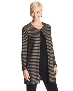 Chico's Women's Travelers Collection Shine Striped Duster Jacket