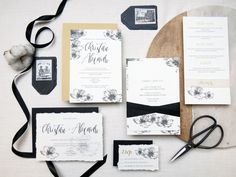 Suite d'invitation mariage Monochrome + Calligraphie  • Monochromatic & calligraphy wedding invitation suite by SilentWordStudio on Etsy