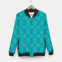 Turquoise flowers, floral pattern Baseball Jacket, Live Heroes