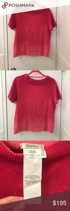 """Max Mara Short Sleeve Cashmere Sweater Ombré. EUC. 20"""" wide from pit to pit. 22"""" long. 100% Cashmere. Max Mara Sweaters Crew & Scoop Necks"""