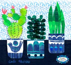 Day 96 of with collaborating with on Cactus Illustration, Cactus Art, Collaborative Art, 100th Day, Surface Pattern Design, Art For Kids, Greeting Cards, Doodles, Collage