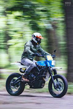 An that evokes the classic Yamaha IT enduros - Motorcycles - Motos Enduro Motorcycle, Moto Bike, Cafe Racer Motorcycle, Motorcycle Design, Yamaha Cafe Racer, Motos Retro, Hors Route, Cafe Racing, Auto Racing
