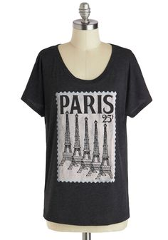 Postcard from Paris Top. Whenever you miss friends who've gone on a trip to France, you soon end up smiling when you receive a postal hello from a pal in Paris. #black #modcloth