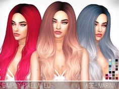- 23 New Color Options (Solids + Ombres) Found in TSR Category 'Sims 4 Female Hairstyles'