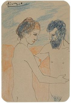 """Pablo Picasso - """" Couple nu """", 1902 - Pen and ink and colored wax crayons on card - 13 x cm Pablo Picasso Drawings, Picasso Sketches, Picasso Art, Malaga, Tarot, Cubist Movement, Monet Paintings, Art Walk, Spanish Artists"""