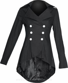 Double-breasted gothic jacket for women with buckle details in the back, by Raven SDL.