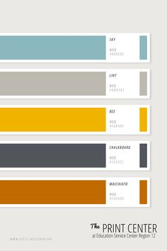 Use these colors to make your project stand out! Bring your design ideas and print jobs to us: The Print Center at ESC Region 12 in Waco, Texas. Pantone Colour Palettes, Pantone Color, Hex Color Palette, Palette Organizer, Brown Color Schemes, Colour Board, Color Swatches, Print Center, Waco Texas